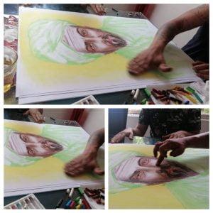 Pintura mediúmnica realizada por el medium brasileño Libio Barbosa